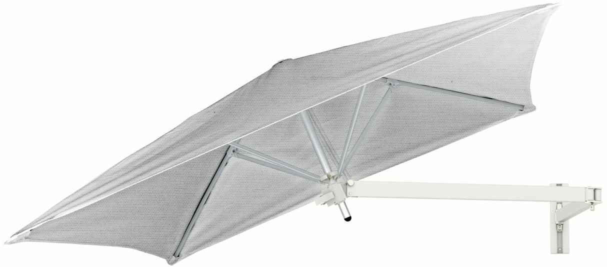Paraflex wall mounted parasols square 1,9 m with Marble fabric and a Neo arm