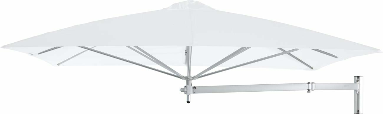 Paraflex wall mounted parasols square 2,3 m with Natural fabric and a Neo arm