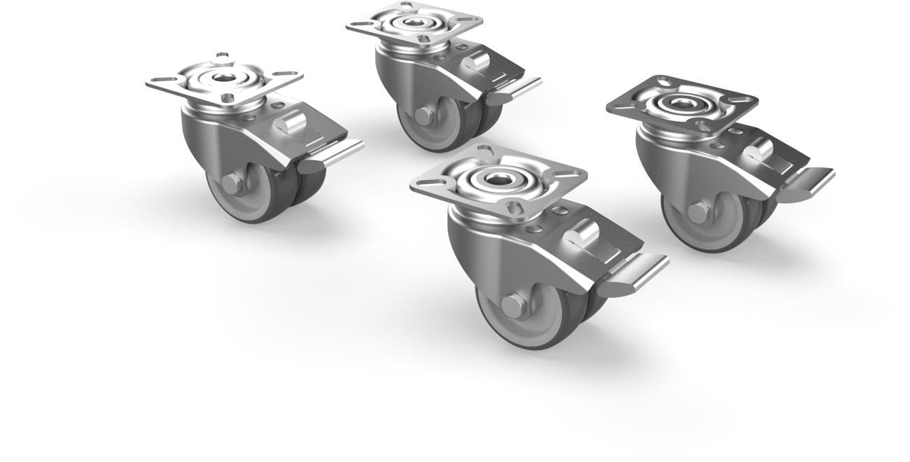 Set von 4 Rollen mit Bremse für Umbrosa UX Füsse und Infina Fuss (Produktion ab 2020)