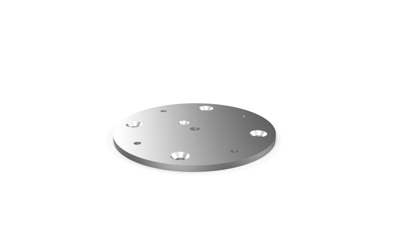 Baseplate - easy installation for all supports (80°-90°), has to be mounted together withe the round support, allows easy removal of the round support during winter