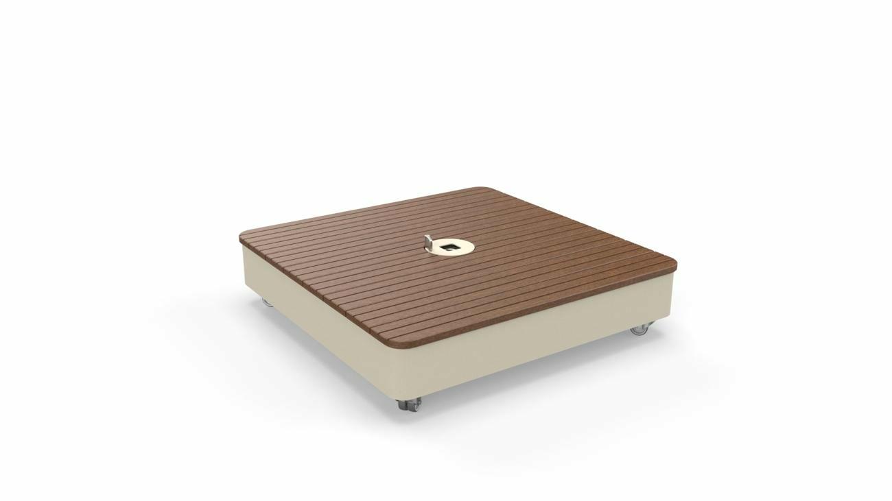 Mobilen Base Sand, Deckel in Holz  (Sipo) - (inkl. Rollen, Fliessen nicht inbegriffen)