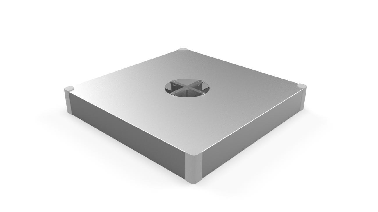 Fliessenfuss mit aluminium Deckel (Fliessen nicht inbegriffen)